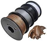 Maths PLA+ 3D Printer Filament 1.75mm (±0.02 mm), 1Kg/2.2lb, 0.25Kg/Spool Independent Vacuum Package. 4 Colors Pack for 3D Printer & 3D Pen-Golden(Dark), Silver, Black, White
