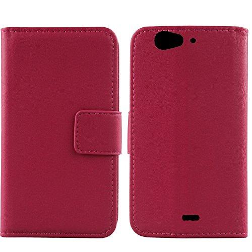 Gukas Design Echt Leder Tasche Für Wiko Darkfull Hülle Handy Flip Brieftasche mit Kartenfächer Schutz Protektiv Genuine Premium Hülle Cover Etui Skin Shell (Rosa)