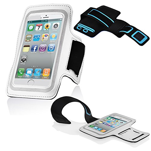 Cadorabo – Neopren Smartphone Sport Armband Fitnessstudio Jogging Armband Oberarmtasche kompatibel mit 3.7 – 4.5 Zoll Handys wie z. B. Apple iPhone 4, 5, > Nokia Lumia 620 < , Sony Xperia E, Samsung Galaxy ACE 2, > HTC ONE V < usw. mit Schlüsselfach & Kopfhöreranschluss in WEISS