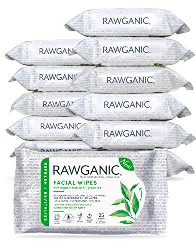 RAWGANIC Toallitas faciales refrescantes | Toallitas suaves de algodón orgánico, sin alcohol, sin fragancia y biodegradables | con Aloe Vera y té verde (set de 12 unidades)