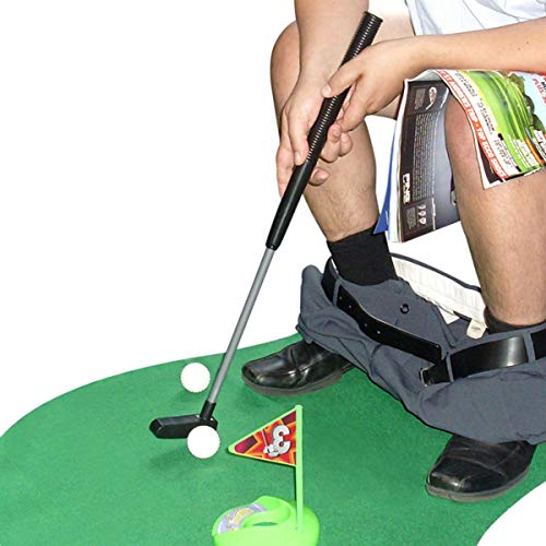 Techson Golf in Toilet Potty Putter Game Set, Novelty Funny Mini Toy in Bathroom with Putting Mat for Trainer Practice