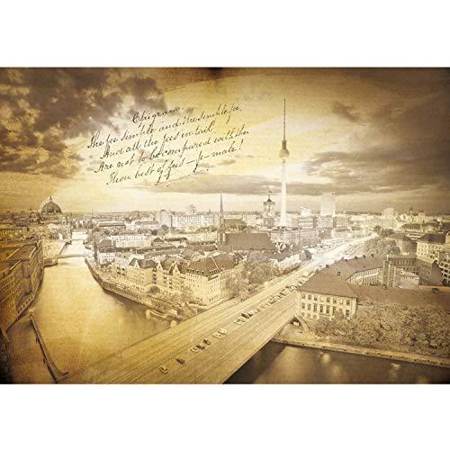 Vlies Fototapete PREMIUM PLUS Wand Foto Tapete Wand Bild Vliestapete - Berlin Fernsehturm Invalidendom Rotes Rathaus - no. 3513, Größe:254x184cm Blueback Papier