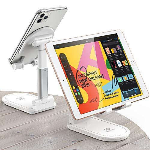 Supporto per tablet, altezza e angolo regolabili, supporto pieghevole per cellulare, compatibile con tablet da 4 a 13 pollici (bianco)