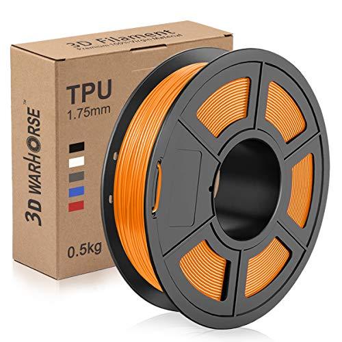 TPU Filament 1.75mm Flexible, 3D Printer Filament Dimensional Accuracy +/- 0.03 mm, 0.5 Kg Spool, Orange