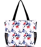 Large Beach Bag Tote Bag Shoulder Bag Lightweight Diaper Bag for Gym Hiking Picnic Travel Beach Waterproof Tote Bags (Red Lily GB)