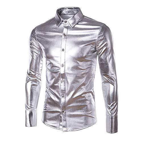 Herenmode Bling Shiny Slim lange mouwen T-shirts Down jongens button shirt disco dance tops clubwear cosplay blouse hemd tops