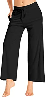 fitglam Women's Casual Wide Leg Palazzo Pants Stretchy Plus Trousers Lounge Yoga Bootcut with Pockets