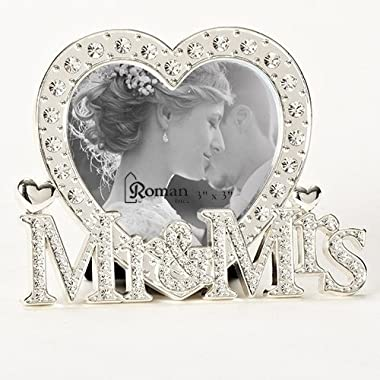 Roman Inc. 3.5 H Mr and Mrs Heart Shaped Wedding 3 x 3 Picture Frame