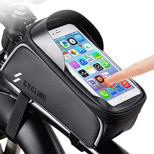 Mountain Bike Accessories for Adult Bikes - Waterproof, Work with Map, Big Capacity, Road Bike Phone Mount Holder, Top Tube Bike Bags Frame, Bicycle Accessories for Men Women, Phone Holder iphone 11