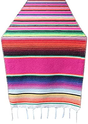 Mexican Table Runner 2 Pack Handwoven Fringe Cotton Mexican Serape Table Runner for Mexican Party Birthday Party Wedding Outdoor Picnics Dining Table