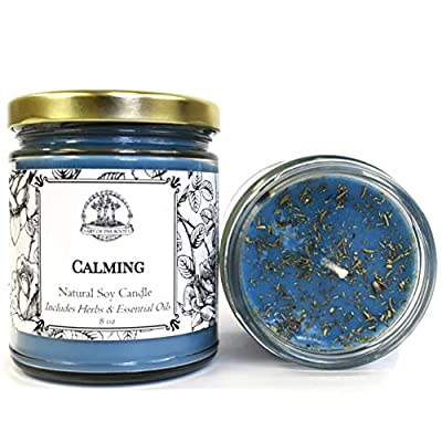 Calming Soy Herbal Candle for Anxiety Tension & Stress