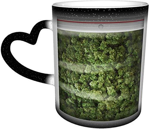 Una gran bolsa de malas hierbas sensible al calor taza cambiante de color en el cielo tazas de café taza de cerámica regalos personalizados para los amantes de la familia y amigos