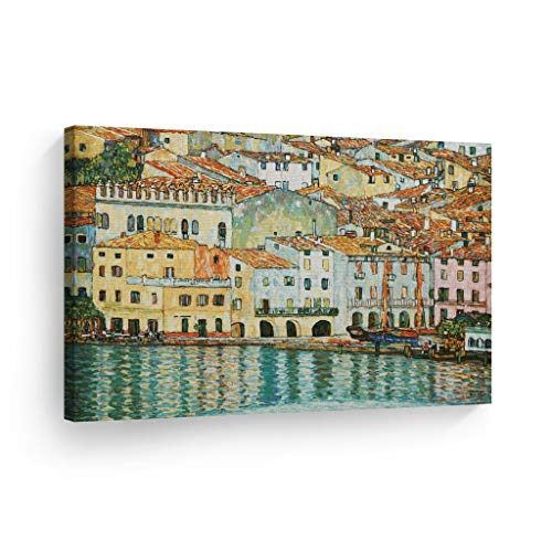 Smile Art Design Malcesine on Lake Garda by Gustav Klimt Canvas Print Wall Art Famous Art Painting Reproduction Fine Art Oil Paintings Modern Art Home Decor Ready to Hang- Made in The USA- 30x40