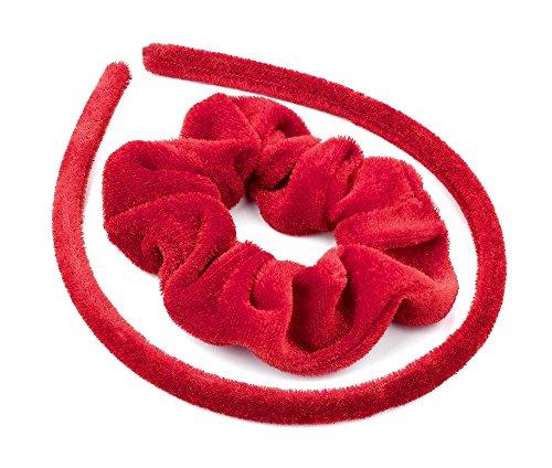 2 pièces en velours rouge Look Bandeau Chouchou Queue de cheval support pour ensemble d'école Alice Band Accessoires Cheveux pour les filles