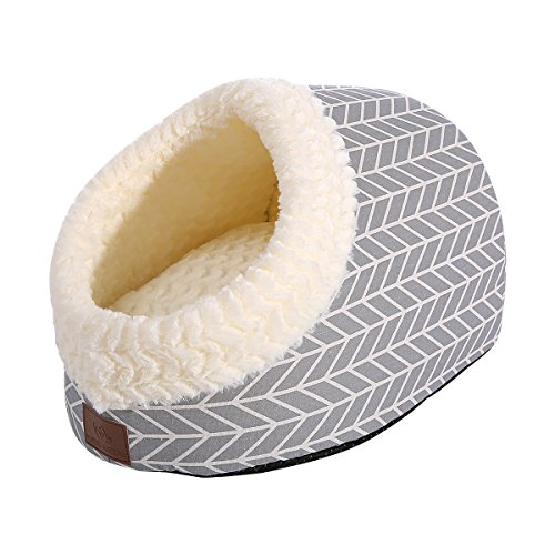 Miss Meow Cat Bed for Indoor Cats,Medium Large Cats Cave Bed,Machine Washable Slip Resistant Bottom,Ultra Soft Plush Cushion Gray Arrow 18' x 14' x...