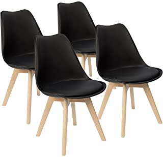 Best Furmax Mid Century Modern DSW Dining Chair Upholstered Side Chair with Beech Wood Legs and Soft Padded Shell Tulip Chair for Dining Room Living Room Bedroom Kitchen Set of 4 (Black) Review