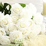 Amzali Artificial Flowers, Real Looking Blush Fake Rose Long Stem Silk Artificial Rose Flowers Home Decor for Bridal Wedding Bouquet, Centerpieces Birthday Flower Party Garden floral Arrangement White