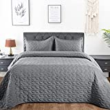 Lucian Dark Grey Quilt Set Full/Queen Size, Geometric Pattern Stitched Bedspread, Lightweight Breathable Summer Comforter Coverlet Sets for All Season, 1 Quilt (90'x98') and 2 Pillow Shams…