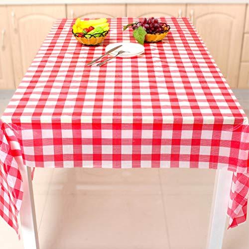WYSDD Premium-Einweg-Kunststoff Rot Und Weiß Karierten Tischdecken Picknick Tischdecke Rechteck Tisch Decken Von (10 Stück / 1 Beutel),Rot,220X220
