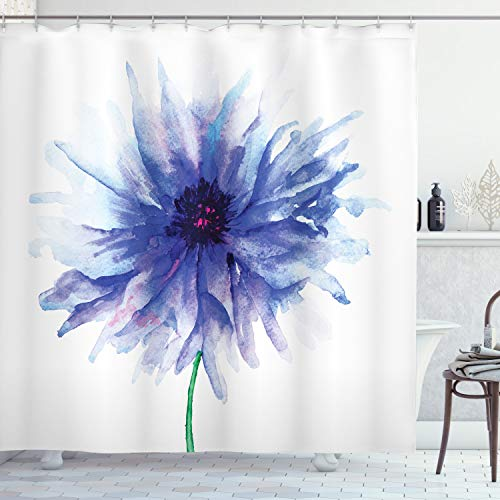 Ambesonne Watercolor Flower Shower Curtain, Single Large Petite Cornflower on a Plain Background Theme of Mother Earth Work of Art, Cloth Fabric Bathroom Decor Set with Hooks, 70' Long, Violet Blue