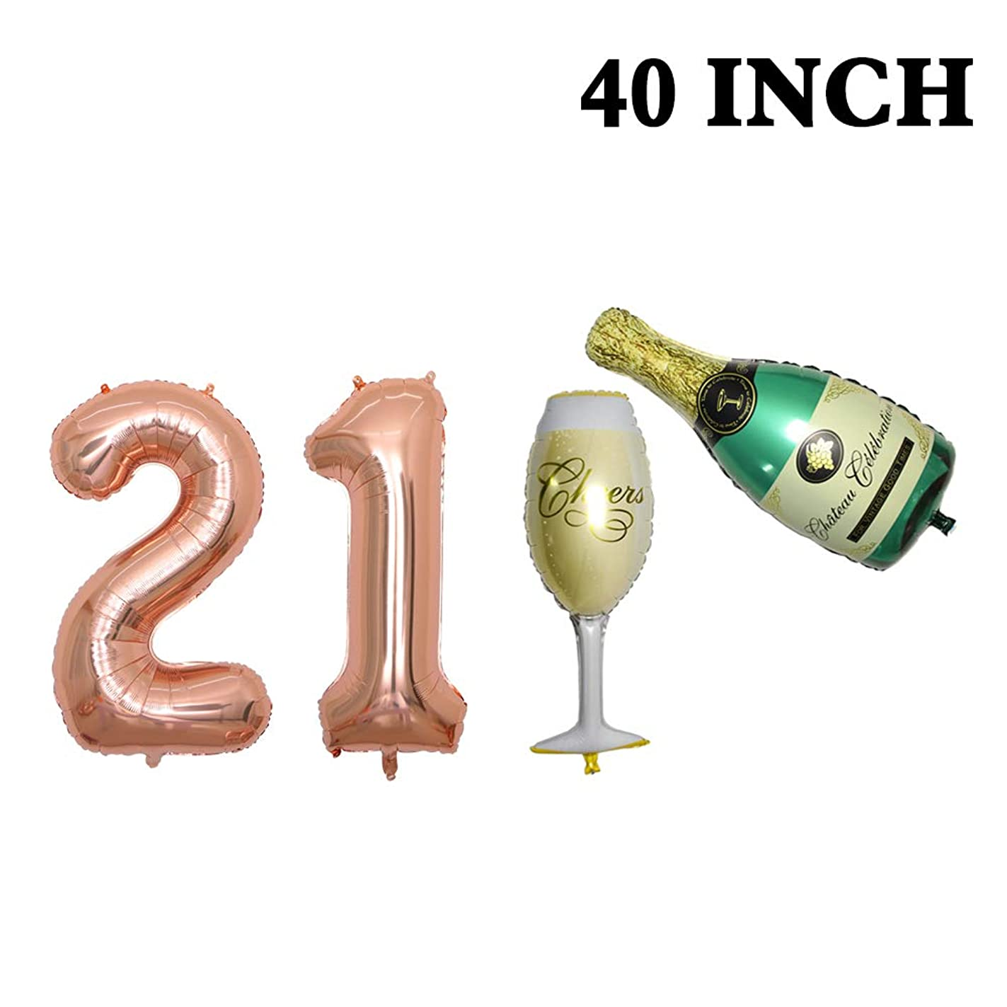 Number 21 Balloons, Rose Gold - 21 Birthday Decorations | 40Inch Champagne Balloon Set |21st Birthday Balloons Foil Mylar Balloons for Rose Gold Party Supplies | 21 Birthday Party Decorations. lmh27034149