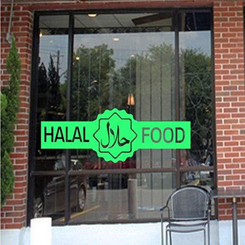 Halal Islamisches Zeichen Wandaufkleber Vinyl Store Restaurant Lebensmittel Outlet Metzger Fenster Dekoration Aufkleber Tür Wandbild Abnehmbar, Grün 57 * 20Cm