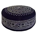 Eid Namaz Kufi Men's Koofi Hand Embroidered Prayer Cap Pakistani Topi (Blue, 58cm)