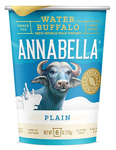 A2 Water Buffalo Yogurt (Plain) 6oz Cup - 12 Cups - A2/A2 Water Buffalo Milk, Non-GMO, Gluten Free, 100% Grass Fed, Higher Protein, More Calcium, Less Cholesterol and Lactose