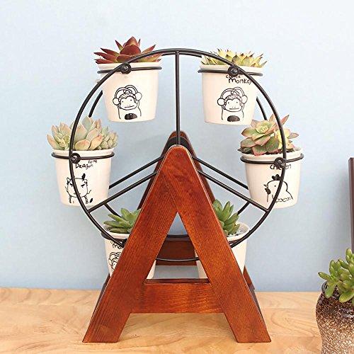 LLLXUHA Bois Massif Tourner Mini Support de Fleurs, Simple Rebord de fenêtre Succulentes Présentoir, Bureau Débris Étagère de Rangement,15 * 23 * 32cm, Brown