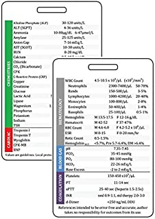 Vertical Lab Values Plastic Badge Card, Clinical Reference for Nurses, Common Adult Labs Results, RN or Nursing Clinicals, Glossy Eco-Friendly Teslin