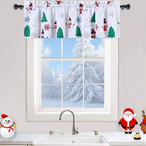 """Haperlare Christmas Kitchen Curtain Valance with Snowman Pattern, Xmas Tree Snowflake Print Valance Curtains for Bathroom, White Valance Curtain Cafe Curtains, 55"""" x 15"""", White/Green/Red, One Panel"""