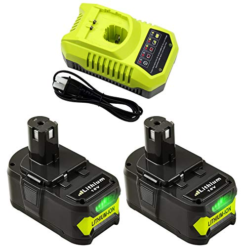 2 Packs 6.0Ah P108 18 Volt Battery and Charger Compatible with Ryobi 18V Battery Lithium-ion One Plus P100 P102 P103 P104 P105 P107 P190