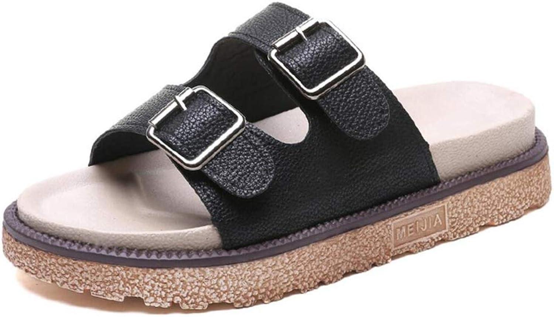 Super explosion 2-Strap Platform Sandals, Slid-on Cork Footbed Sandals with Adjustable Buckles