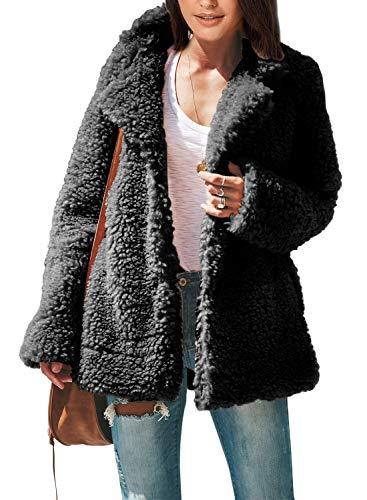 FARYSAYS Women's Fleece Furry Fuzzy Open Front Button Winter Coat with Pockets Outwear Jackets Black XX-Large