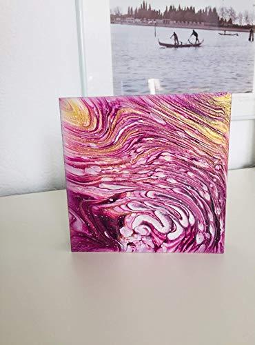 Fluid Painting auf MDF I Acryl Pouring I 15 x 15 x 3 cm I original handgemaltes Einzelstück I lila magenta weiß gold I MDF Platte mit Aufhänger I moderne Kunst für Wohnzimmer, Flur, Arbeitszimmer