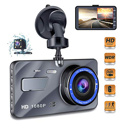 Dash Cam, 4 Inch Car Camera-Car Camcorder Super HD 1080P LCD Display Recorder with Front+VGA Rear 290°Super Wide Angle Built-in G-Sensor Night Vision Recording Loop Recording and Parking Monitorin