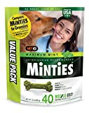 FRESHENS BREATH: Minties dental treats for dogs contains NO WHEAT, CORN, OR SOY. These dog breath treats contain five (5) breath fresheners alfalfa, parsley, fennel dill, and peppermint. VET RECOMMENDED: Minties dental dog bones provide vet recommend...