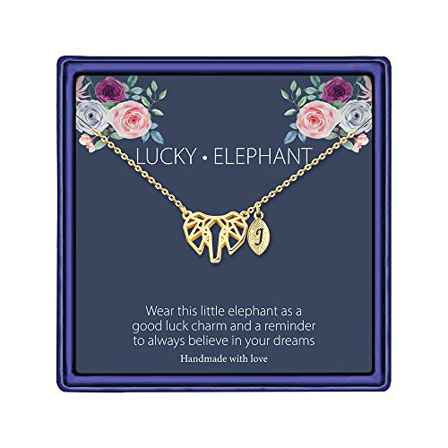 MONOOC Elephants Gifts for Girls Necklace, 14K Gold Plated Geometric Origami Elephant Necklace Leaf Initial Necklace J Letter Leaf Necklace Elephant Gifts for Teens
