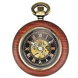 Relojes de bolsillo para mujer Reloj de bolsillo de caoba mecánico automático de los hombres y las mujeres clásicos retro ahuecado hacia fuera el reloj del collar antiguo Relojes de bolsillo para homb