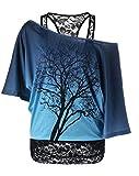 BIUBIUCLA Femmes Sling Top T-Shirt à Manches Courtes Tunique Epaule Nue Haut Glamour 2-en-1 Blouses Dentelle Splice T-Shirt Été...