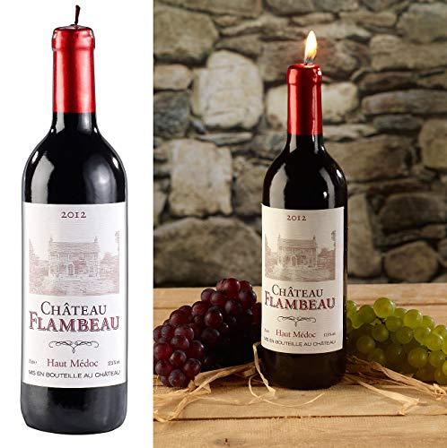 Britesta Weinflasche Kerze: Dekorative Wachskerze in authentischer Weinflaschenform, 29 cm hoch (Wein Kerze)