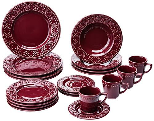1 Aparelho de Jantar e Chá 20 Peças Oxford Daily Mendi Corvina Vinho