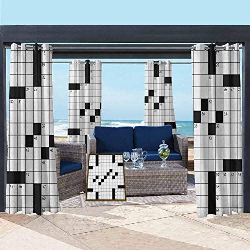 Word Search Puzzle Semi-Sheer Drape for Thermal Insulated Privacy Protected Blank Newspaper Style Crossword Puzzle with Numbers in Word Grid Black and White 108W x 63L Inch