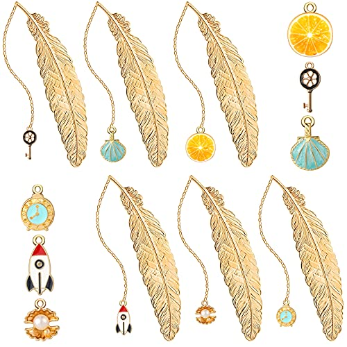 6 Pieces Metal Feather Pendant Bookmarks Gold Reading Page Markers Vintage Feather Bookmarks with Pendant Bookmarks Present for Teens Adults Friends Readers Students