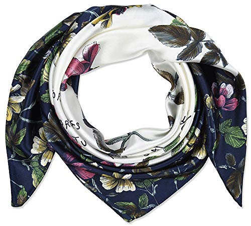 Corciova 35quot Women#039s Polyester Silk Feeling Square Hair Scarf Headscarf Oxford Blue and White Flowers Pattern