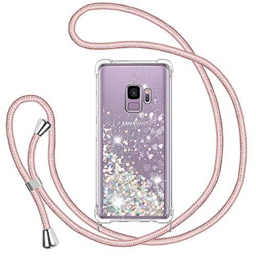 TUUT Handykette für Samsung Galaxy S9 Glitzer Handyhülle, Glitter Flüssigkeit Smartphone Necklace Schutzhülle Hülle TPU Bumper Silikon Clear Back Cover, Gradient Quicksand Hülle in Rosé-Gold