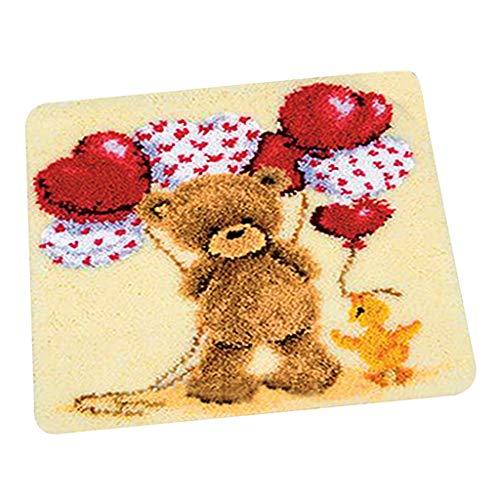 perfk 1 Set Knüpfteppich DIY Handwerk Knüpfpackung zum Selber Knüpfen Teppich für Kinder, Erwachsene, 45x45cm - Spielzeugbär