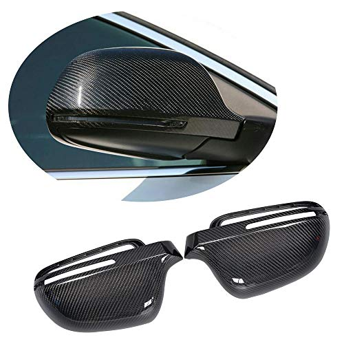 MCARCAR KIT Mirror Cover fits Audi A4 B8 S4 2008-2011 Q3 2011UP A6 2008-2010 Replacement Carbon Fiber CF Rearview Side Rearview Mirror Caps Car Exterior Outside Shell