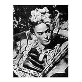 Vintage Leinwanddruck Schwarzweiss-Kunst Frau Frida Kahlo