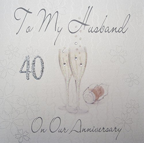 White Cotton Cards WB 43-101,60 cm champagneglazen, om My Husband On Our Anniversary 40 years